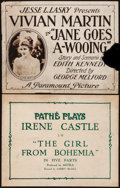 """Movie Posters:Comedy, The Girl From Bohemia & Other Lot (Pathé, 1918). Title Lobby Cards (2) (11"""" X 14""""). Comedy.. ... (Total: 2 Items)"""