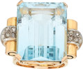 Estate Jewelry:Rings, Retro Topaz, Diamond, Gold Ring  The ring feat...