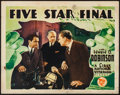 "Movie Posters:Drama, Five Star Final (First National, 1931). Lobby Card (11"" X 14""). Drama.. ..."