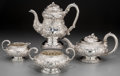 Silver Holloware, British:Holloware, A Four-Piece Michael Starkey Silver Tea and Coffee Set, London,1826-1827. Marks: (lion passant), (leopard), (duty mark), ...(Total: 4 Items)