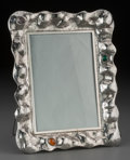 Silver Holloware, Continental, An Italian Hand-Hammered and Cabochon-Mounted Silver Picture Frame,20th century. Marks: Zinzi, 800, MADE IN ITALY. 10 x...