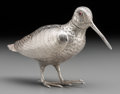 Silver Holloware, Continental:Holloware, A Dutch Silver Long-Billed Dowitcher Bird-Form Spice Box . Marks:(lion passant), (obscured stamp). 3-7/8 inches high (9.8 c...