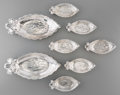 Silver Holloware, American:Other , Eight Gorham-Durgin Silver Iris Pattern Nut Dishes,Providence, Rhode Island, circa 1905. Marks: STERLING, GOR...(Total: 6 Items)