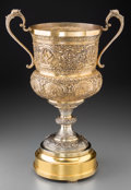 Asian:Other, A Large Burmese Gilt Silver and Repoussé Two-Handled Cup. 16-1/4inches high x 13-1/4 wide (41.3 x 33.7 cm) (trophy). 19 inc...(Total: 2 Items)