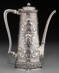 Silver Holloware, American:Coffee Pots, A Tiffany & Co. Silver Turkish Coffee Pot with Satyr MasqueMotif, New York, circa 1873-1891. Marks: TIFFANY & CO, 5399M ...