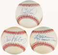"Autographs:Baseballs, Hall of Fame ""Batting Greats"" Single Signed Baseballs Quartet(3)...."