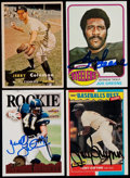 Autographs:Sports Cards, 1957-95 Baseball/Football Signed Card Collection (4)....
