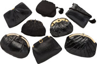 Judith Leiber Set of Eight; Black Lizard, Karung Snakeskin, Ayers Snakeskin & Satin Evening Bags Good to Very G