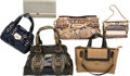 "Luxury Accessories:Bags, Jimmy Choo Set of Six; Leather, Patent Leather, Python, Fabric& Paillettes Bags. Very Good Condition. 14.5"" Width x 10""H... (Total: 6 )"