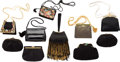 "Luxury Accessories:Bags, Judith Leiber Set of Ten; Black Leather, Suede & Satin EveningBags. Good to Very Good Condition. 10"" Width x 7""Heigh... (Total: 10 Items)"
