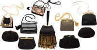 Judith Leiber Set of Ten; Black Leather, Suede & Satin Evening Bags Good to Very Good Condition 1