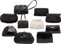 Luxury Accessories:Bags, Judith Leiber Set of Ten; Shiny Black Crocodile, Lizard, Karung Snakeskin, Satin & Leather Evening Bags. Good to Very Good... (Total: 10 Items)