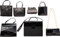 "Luxury Accessories:Bags, Prada Set of Seven; Black Leather Bags. Very Good Condition. 7""Width x 4.5"" Height x 6"" Depth. 8"" Width x 7.5"" Height x 2...(Total: 7 )"