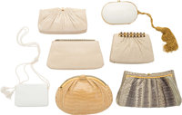 Judith Leiber Set of Seven; White, Beige & Green Snakeskin, Crocodile & Ostrich Evening Bags Good to Very Good...