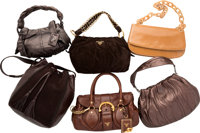"""Prada Set of Six; Brown Leather Shoulder Bags Good to Very Good Condition 15"""" Width x 9"""" Height x"""