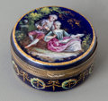 Silver Smalls:Snuff Boxes, A French Enameled Snuff Box, late 19th century. Marks:(A-effaced-S), A. 0-3/4 inches high x 1-3/8 inches diameter(1.9 ...