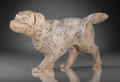 Silver & Vertu:Hollowware, A Russian Carved Hardstone Figure of a Hunting Dog with Inset Diamond Eyes, early 20th century. 2-1/2 h x 5 w x 1-1/8 d inch...