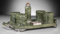 A Lebkuecher & Co. Green Marble, Silver, and Carnelian-Mounted Smoking Set, Newark, New Jersey, circa 1896-1909...
