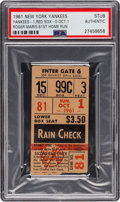 Baseball Collectibles:Tickets, 1961 Roger Maris Sixty-First Home Run Ticket Stub, PSA Authentic....
