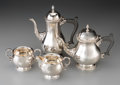 Silver Holloware, British:Holloware, A Four-Piece Mappin & Webb Silver Tea and Coffee Service, Sheffield, 1978. Marks: (lion passant), (blossom), D, M&W. 9-1... (Total: 4 Items)