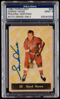 Autographs:Sports Cards, Signed 1960 Parkhurst Gordie Howe #20 PSA/DNA Authentic, Mint 9....