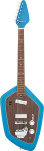 Musical Instruments:Electric Guitars, Circa 1960s Teisco EV-2T Blue Solid Body Electric Guitar....