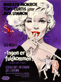 "Movie Posters:Comedy, Some Like It Hot (United Artists, 1959). Danish Poster (24.5"" X33"") Benny Stilling Artwork.. ..."