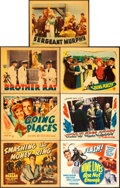 "Movie Posters:Crime, Smashing the Money Ring & Others Lot (Warner Brothers, 1939).Title Lobby Cards (3) & Lobby Cards (4) (11"" X 14""). Linenand... (Total: 7 Items)"