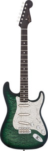 Musical Instruments:Electric Guitars, 2013 Fender Stratocaster Green Quilt Top NOS Solid Body ElectricGuitar, #CZ505588....