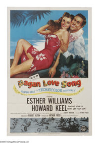 """Pagan Love Song (MGM, 1950). One Sheet (27"""" X 41""""). Visiting teacher Howard Keel mistakes vactioning Esther Wi..."""