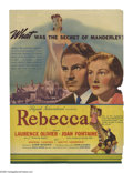 """Rebecca (United Artists, 1940). Herald (6"""" X 9""""). Alfred Hitchcock's first American film and his only one to w..."""
