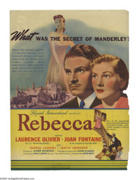 "Rebecca (United Artists, 1940). Herald (6"" X 9""). Alfred Hitchcock's first American film and his only one to w..."