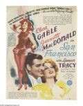 "Movie Posters:Romance, San Francisco (MGM, 1936). Herald (7"" X 12""). This 1936 musical is the godfather of disaster epics and stars Clark Gable, Je..."