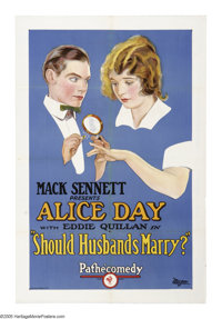 """Should Husbands Marry? (Pathe', 1924). One Sheet (27"""" X 41""""). Eddie Quillan was born into a show business fami..."""