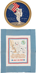 """Explorers:Space Exploration, Apollo 11: Vintage """"One Giant Leap"""" Cross-Stitch and NeedlepointDisplays. ... (Total: 2 Items)"""