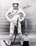Autographs:Celebrities, Wally Schirra Signed Silver Spacesuit Photo. ...