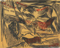 Fine Art - Work on Paper:Print, Elaine de Kooning (1919-1989). Untitled (Horses), 1984.Lithograph in colors on Rives BFK paper. 22-1/2 x 28 inches (57....