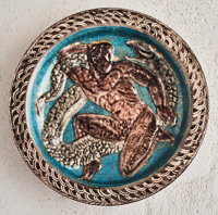 Jean Mayodon (French, 1893-1967) Herculean Charger, circa 1925 Glazed stoneware 11-1/4 inches dia