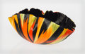 Glass, Toots Zynsky (American, b. 1951). Fire Chaos Bowl, 1994. Filet-de-verre fused colored glass threads. 5 x 12-1/4 x 6 inch...