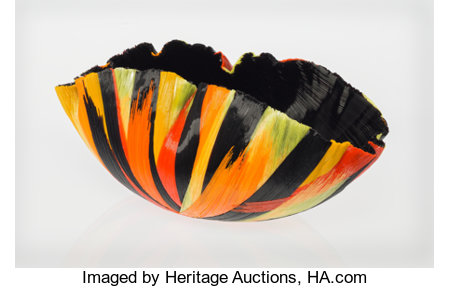 Toots Zynsky (American, b. 1951)Fire Chaos Bowl, 1994Filet-de-verre fused colored glass threads5 x 12-1/4 x 6 inch...