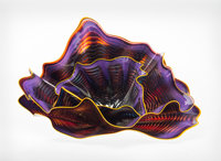 Dale Chihuly (American, b. 1941) Large Three-Piece Crimson Violet Persian Set with Yellow Lip Wrap, 198