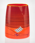 Art Glass, Dale Chihuly (American, b. 1941). Poppy Red BlanketCylinder, 2000, Portland Press. Blown glass. 8-3/4 inches high(22.2...