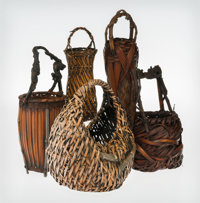 Japanese School (19th Century) Five Ikebana Baskets Bamboo and reeds 16-1/2 inches (41.9 cm) (tal
