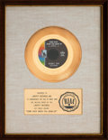 "Music Memorabilia:Awards, Bobby Vee ""Come Back When You Grow Up"" RIAA White Matte Gold SalesAward (Liberty 55964, 1967)...."