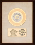 "Music Memorabilia:Awards, R.B. Greaves ""Take A Letter Maria"" RIAA White Matte Gold SalesAward Presented to Ahmet Ertegun (Atco 45-6714, 1969)...."