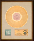 Music Memorabilia:Awards, Blood, Sweat & Tears Greatest Hits RIAA White Matte GoldSales Award (Columbia KC 31170, 1972)....
