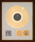 Music Memorabilia:Awards, Bobby Sherman Here Comes Bobby RIAA White Matte Gold SalesAward (Metromedia MD-1028, 1970)....