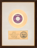 "Music Memorabilia:Awards, Albert Hammond ""It Never Rains in Southern California"" RIAA WhiteMatte Gold Sales Award (Mums ZS7 6011, 1972)...."