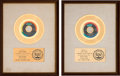 Music Memorabilia:Awards, Tyrone Davis - Two RIAA White Matte Gold Sales Awards (Dakar, 45-602 & 45-616, 1969 & 1970).... (Total: 2 Items)