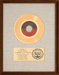 "Music Memorabilia:Awards, Clarence Carter ""Too Weak to Fight"" RIAA White Matte Gold SalesAward (Atlantic 45-2569, 1968)...."